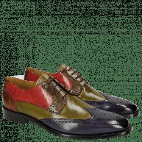 Derby schoenen Jeff 14 Classic Cobalt Mint Green Grey Rosso Tan LS