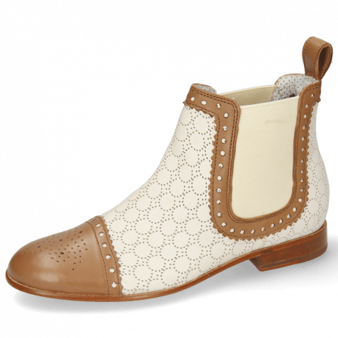 Enkellaarzen Sally 128 Nappa Glove Tan Perfo Cream