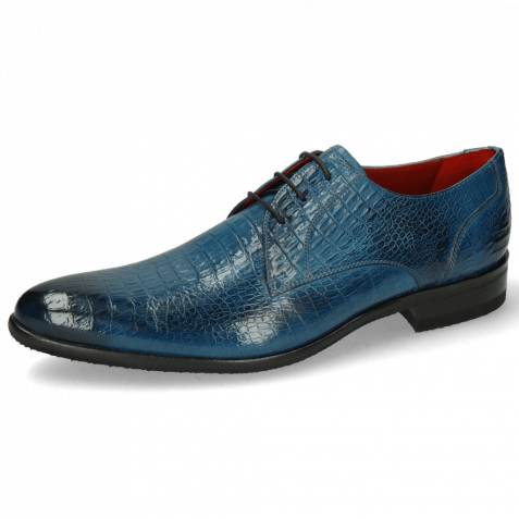 Derby schoenen Toni 1 Baby Croco Mid Blue