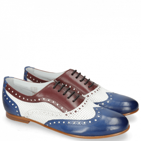 Oxford schoenen Sonia 1 Midnight Nappa White Burgundy