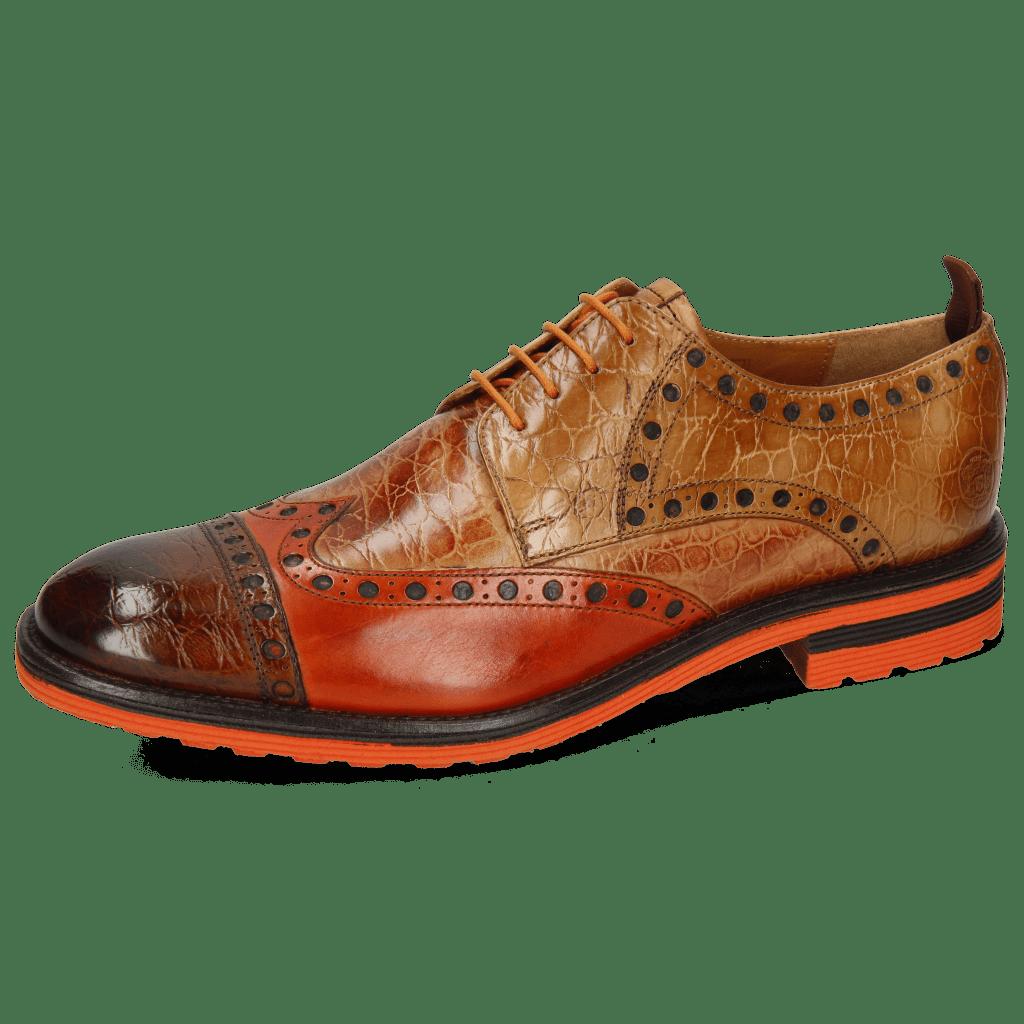 Derby schoenen Eddy 48 Croco Wood Winter Orange Tan