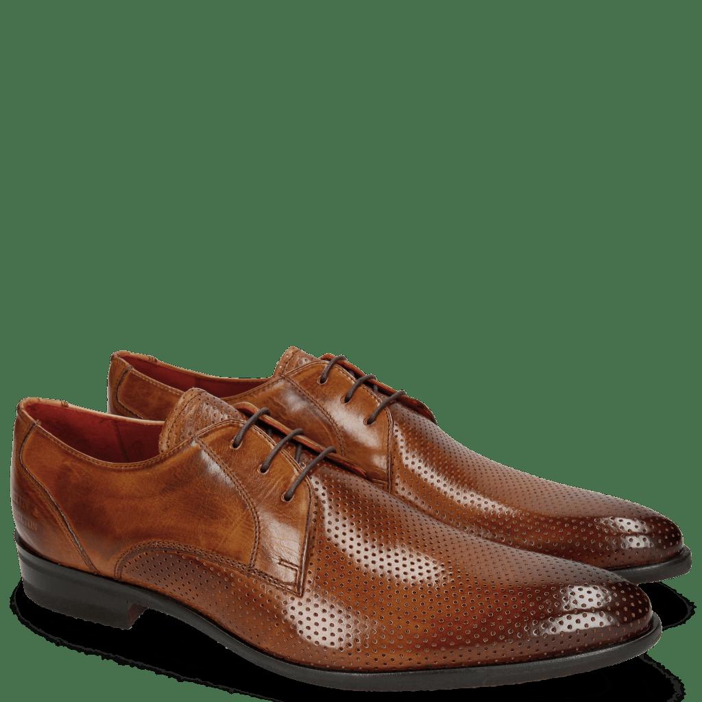 Derby schoenen Toni 1 Perfo Tan Modica Red