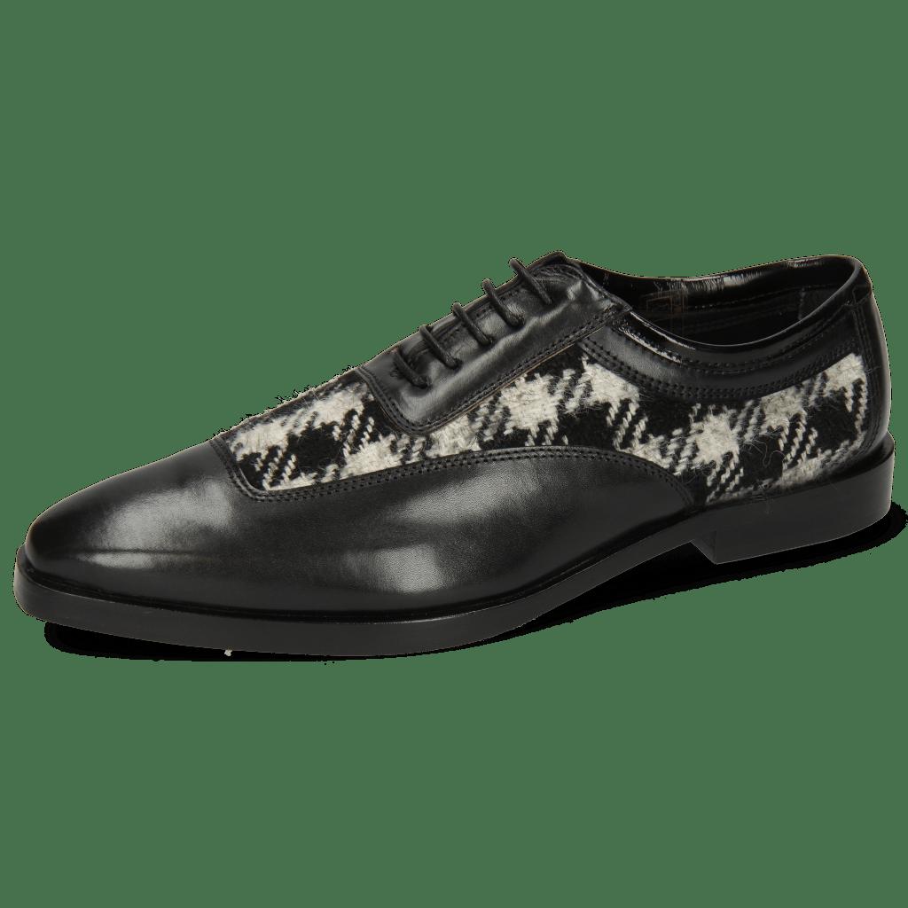 Oxford schoenen Sara 1 Soft Patent Black Textile Square Black White