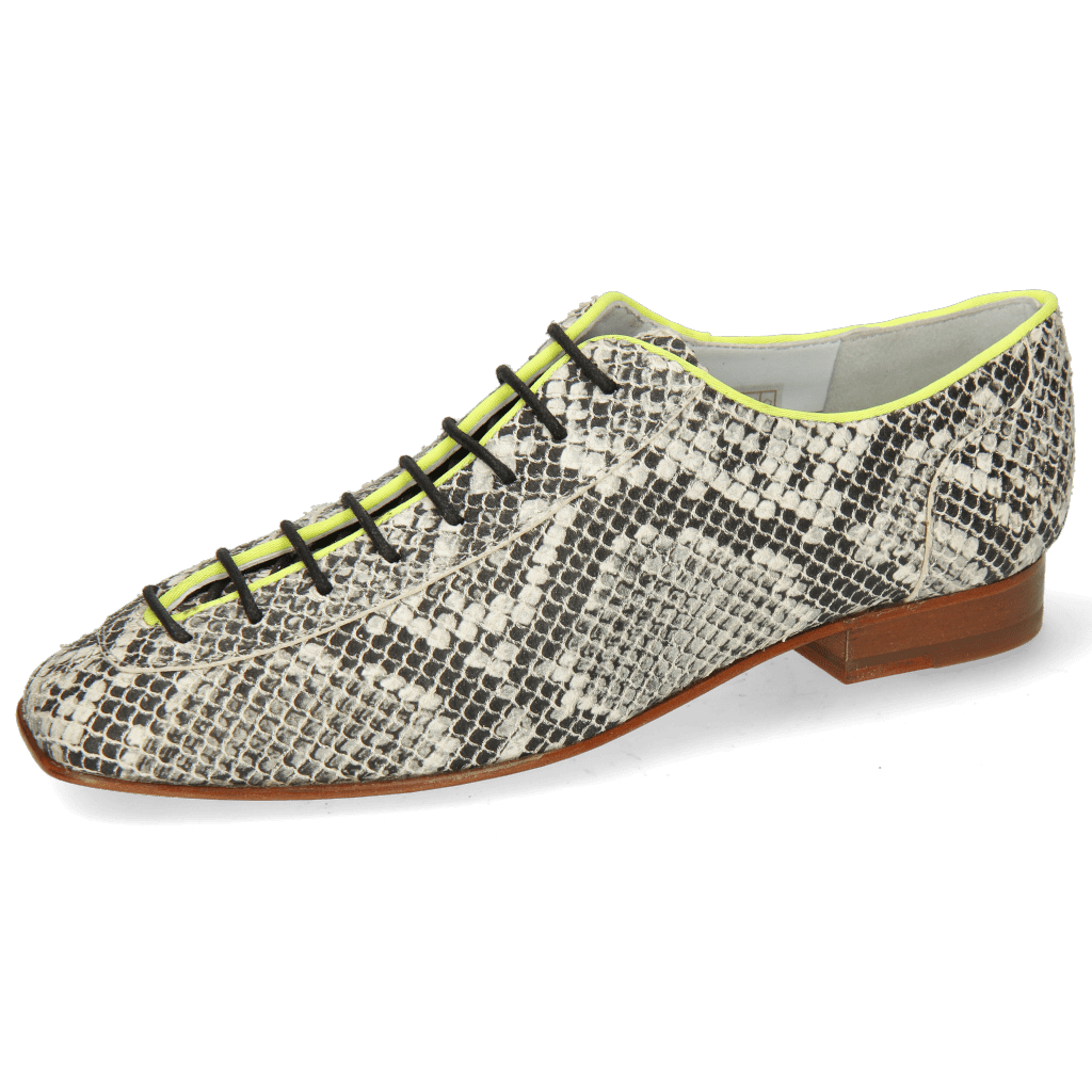 Oxford schoenen Sofia 6  Snake Off White Binding Lycra Fluo Yellow