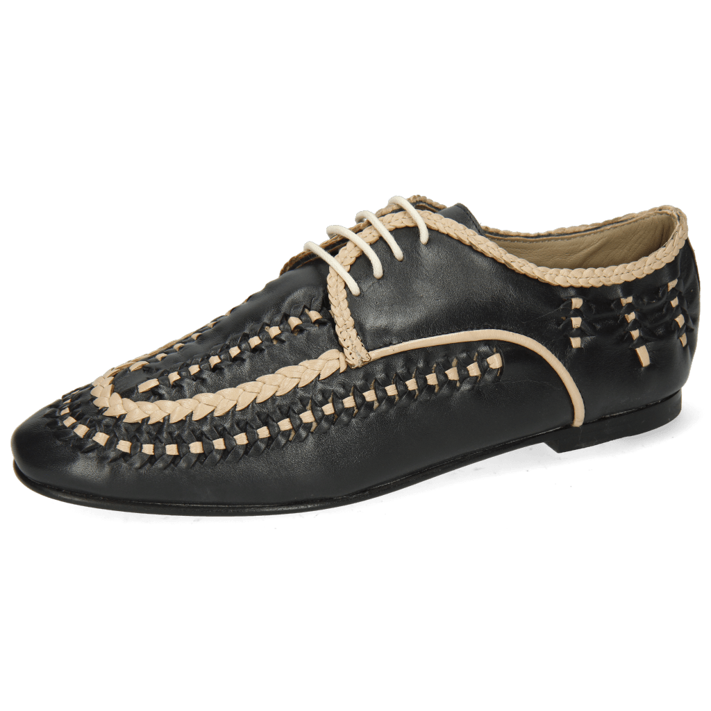 Derby schoenen Aviana 2 Navy Nappa Interlaced Off White