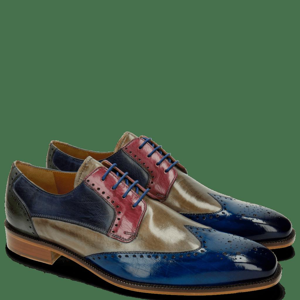Derby schoenen Jeff 14 Bluette Morning Grey Lilac Moroccan Blue Clear Water