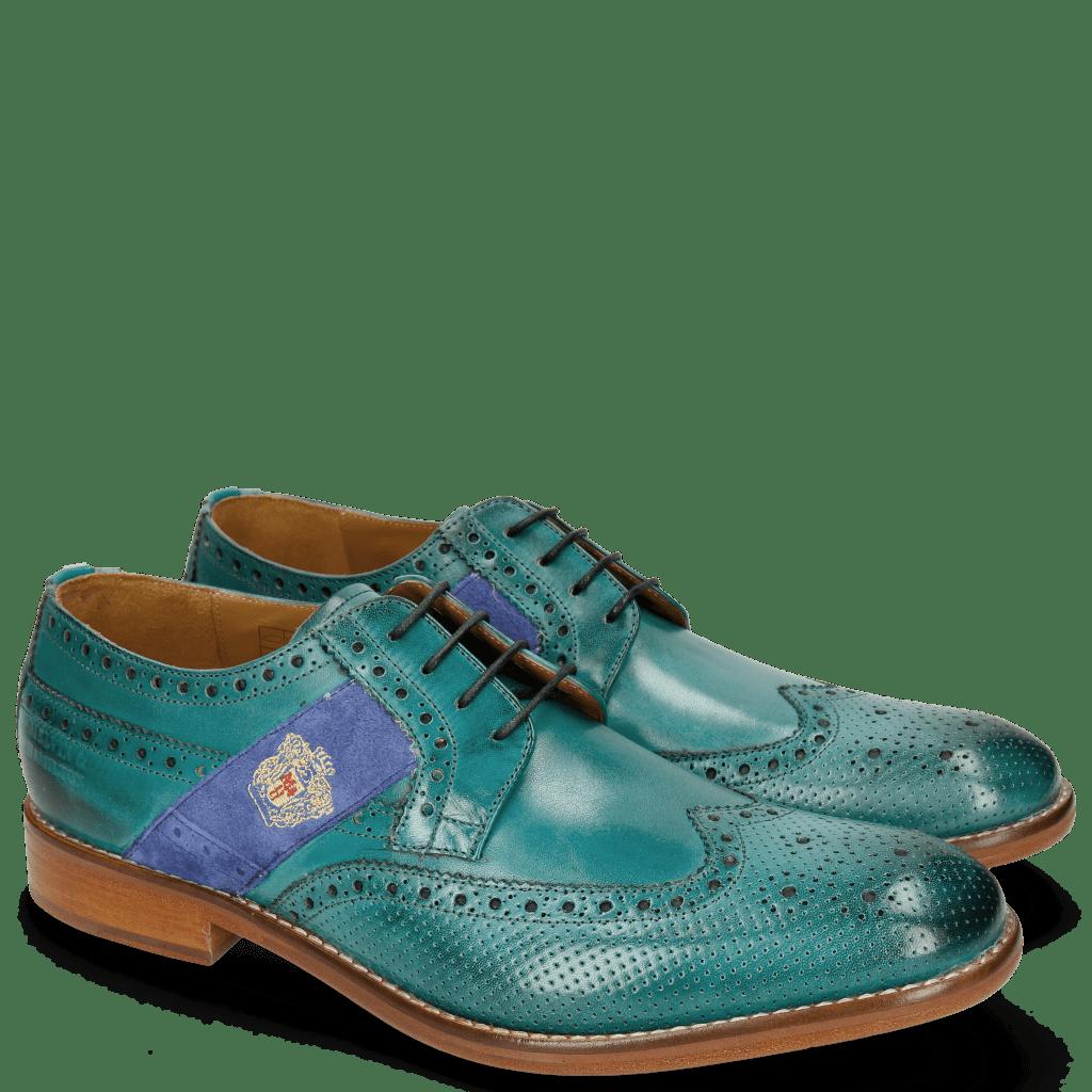 Derby schoenen Eddy 25R Perfo Turquoise Embrodery
