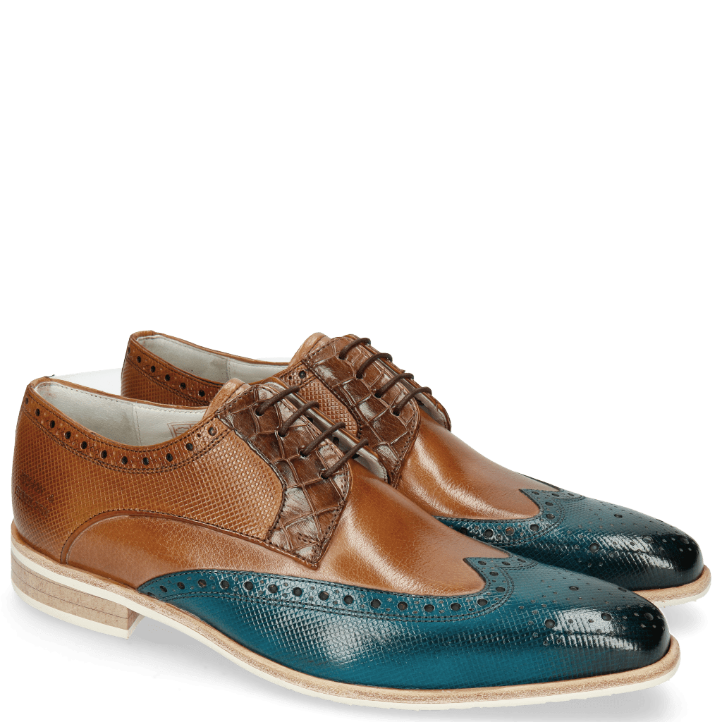 Derby schoenen Lewis 3 Dice Mid Blue Woody Crock Dark Brown