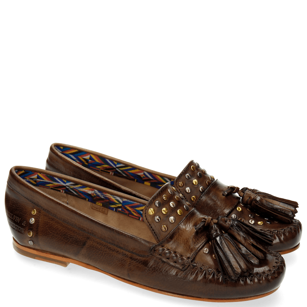 Loafers Bridget 2 Milano Dark Brown Rivets Multi