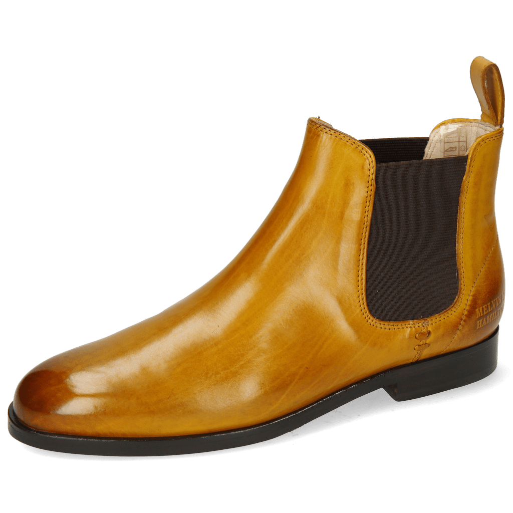 Enkellaarzen Susan 10 Indy Yellow Elastic Dark Brown