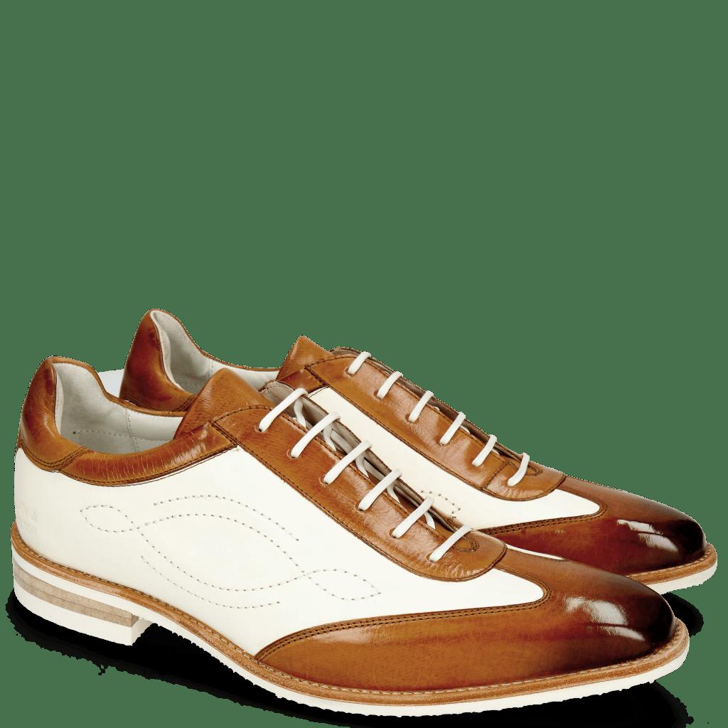 Oxford schoenen Dave 6 Tan Vegas White Tongue Nappa Glove Camel