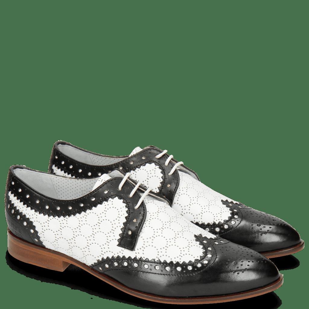 Derby schoenen Jessy 53 Black Nappa Perfo White Lining Nappa Flex