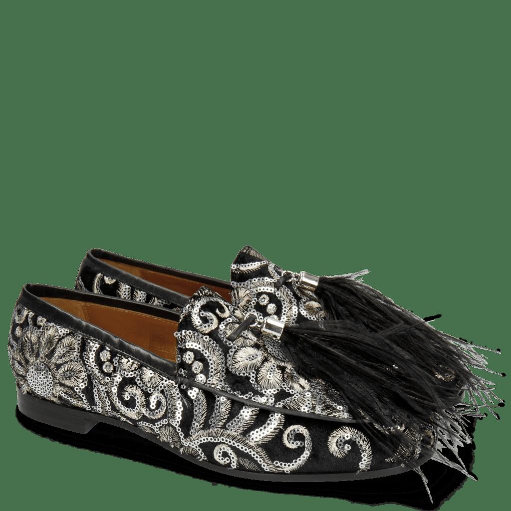 Loafers Scarlett 3 Zardosi Black Tassel Feather Black