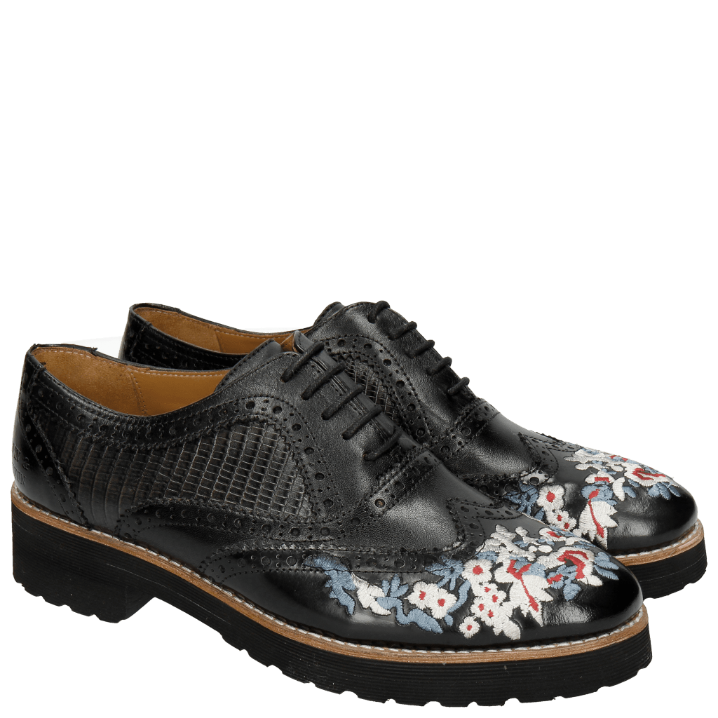 Oxford schoenen Esther 9 Brush Ecocalf Guana Black Embrodery Black