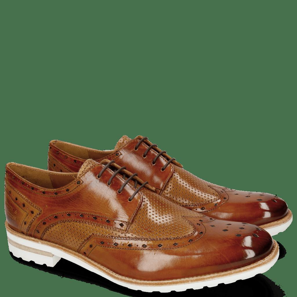 Derby schoenen Eddy 5 Tan Perfo Sabbia