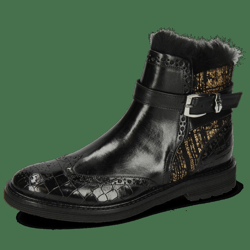 Enkellaarzen Amelie 67 Crock Black Textile Tweed Black Gold