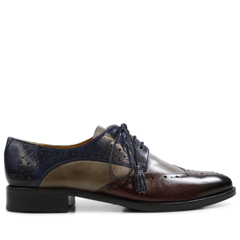 Derby schoenen Betty 3 Crust Burgundy Smoke Navy Tassel Navy HRS