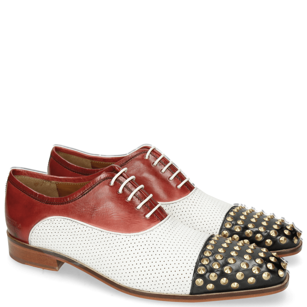 Oxford schoenen Lance 23 Black Milled Perfo White Ruby Bluette Rivets Gold