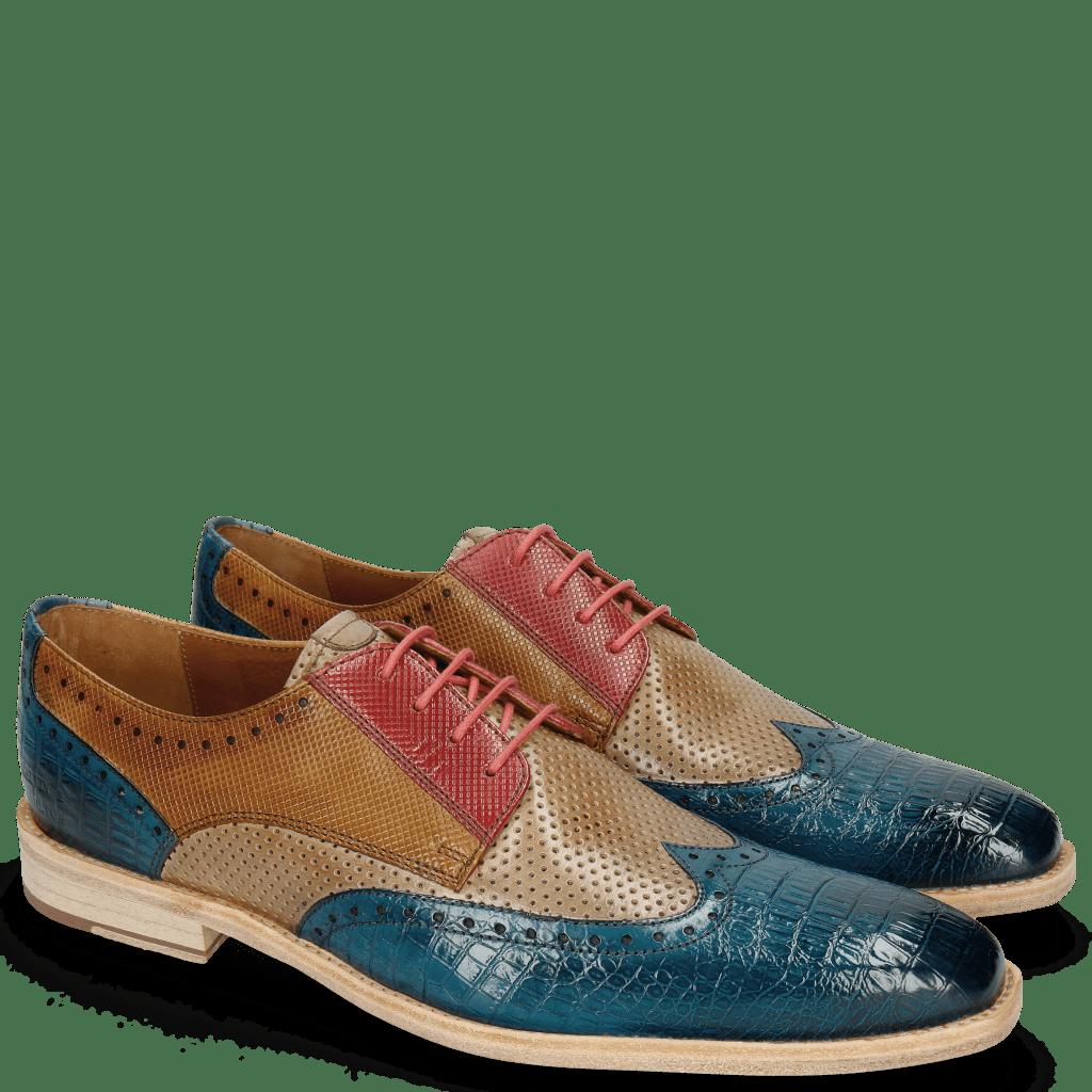 Derby schoenen Leonardo 20 Baby Croco Mid Blue Perfo Ruby
