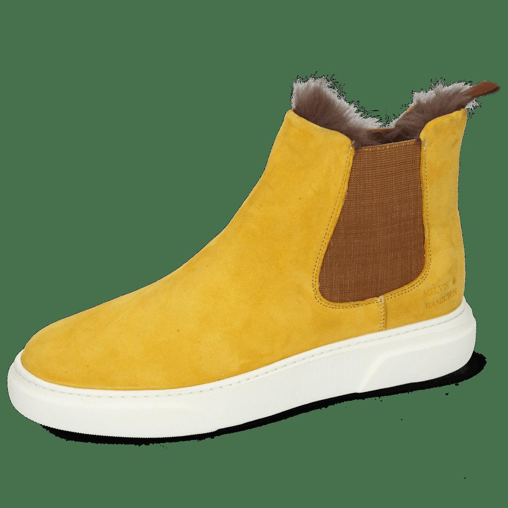 Enkellaarzen Hailey 2 Sheep Suede Yellow Elastic Glitter Fur