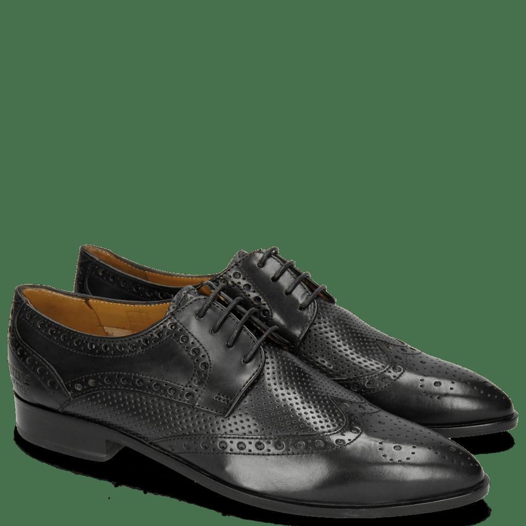 Derby schoenen Jessy 6 Perfo Black Rich Tan Collar