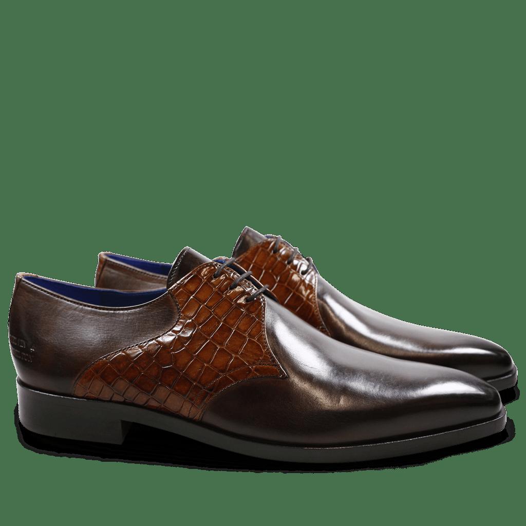 Derby schoenen Lewis 29 Crust Rocco Dark Brown Tan LS Brown