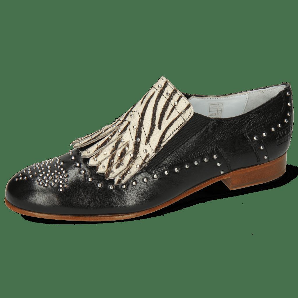 Loafers Sally 95 Nappa Glove Black Hairon Young Zebra