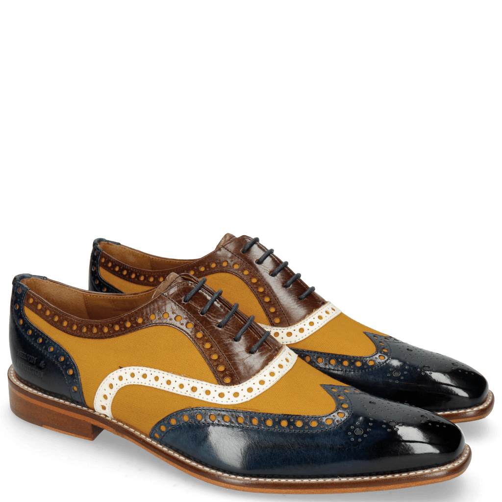 Oxford schoenen Leonardo 21 Navy Canvas Kumquat Vegas White Dark Brown