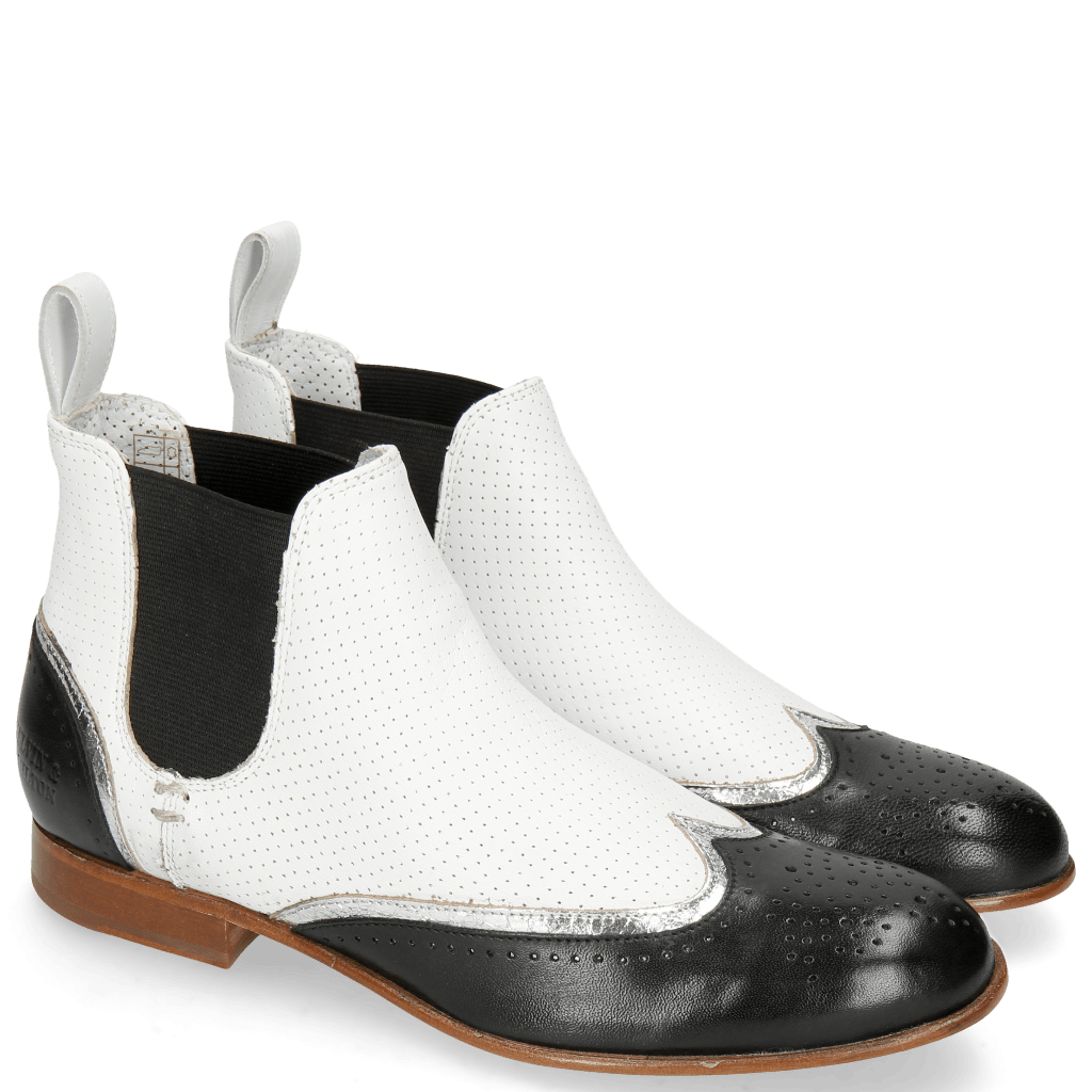 Enkellaarzen Sally 19 Nappa Glove Black Cromia Nickel Nappa Perfo White
