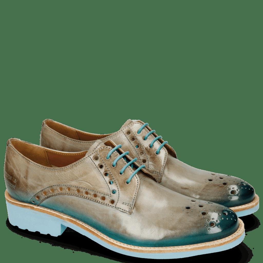Derby schoenen Amelie 7 Oxygen Shade Ice Blue Turquoise