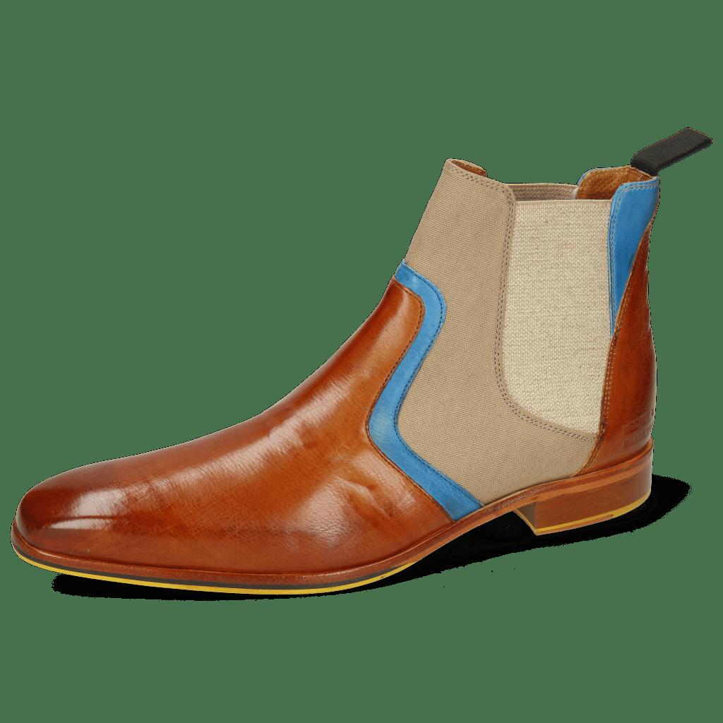 Enkellaarzen Lewis 26 Imola Tan Mid Blue Textile Indonesia Camel
