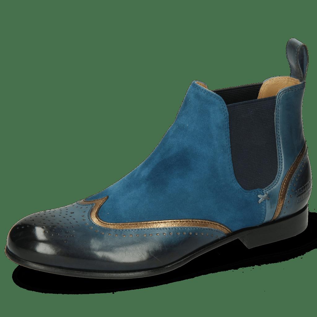 Enkellaarzen Sally 19 Ice Lake Nappa Aztek Bronze Sheep Suede Turquoise
