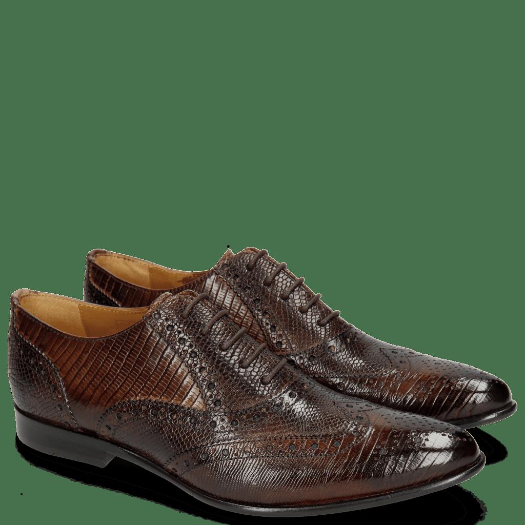 Oxford schoenen Keira 10 Lizzard Mid Brown Phyton Brown