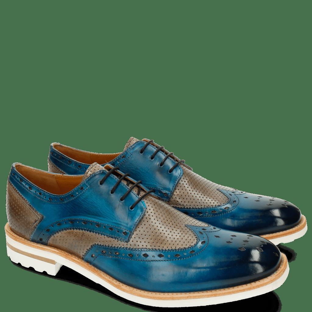 Derby schoenen Eddy 5 Perfo Bluette Morning Grey Aspen White