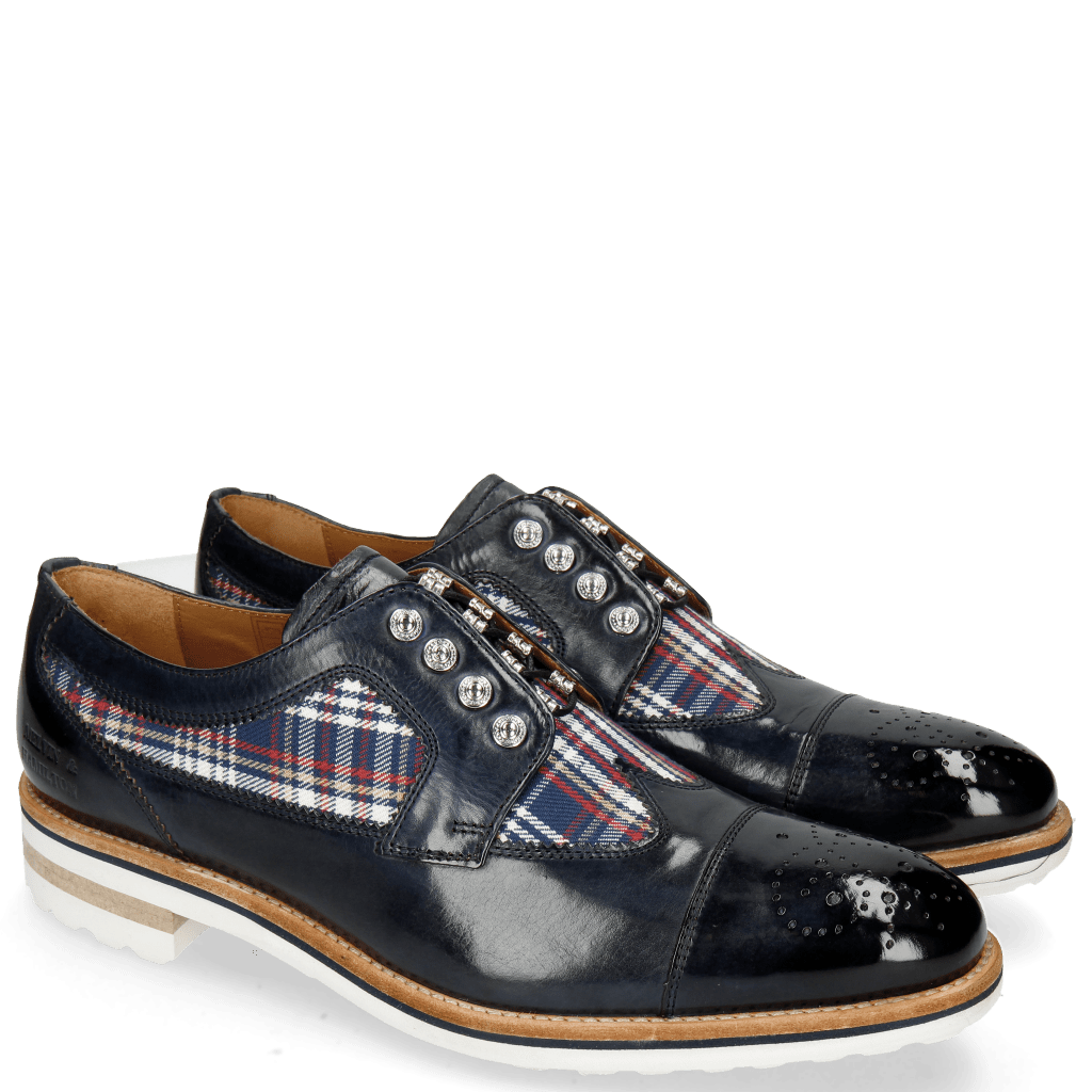 Derby schoenen Tom 22 Navy Textile Check Multi