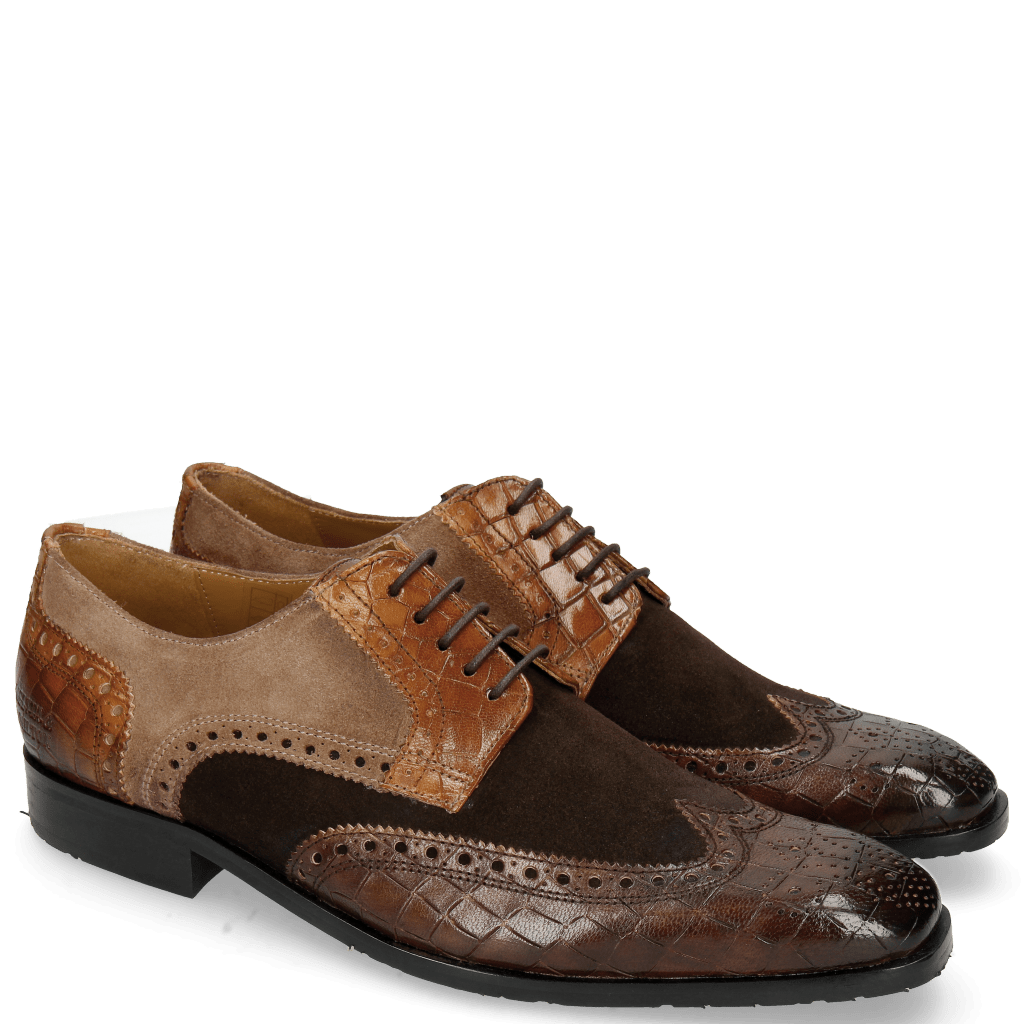 Derby schoenen Rico 16 Venice Crock Dark Brown Wood Suede Pattini Brown Cognac