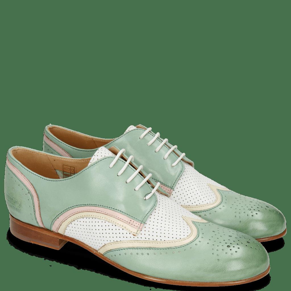 Derby schoenen Sally 15 Verona Tropical Sea Ivory Nappa Perfo White