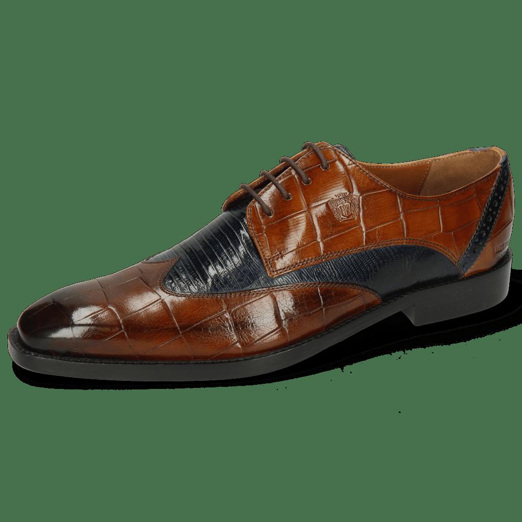 Derby schoenen Martin 7 Turtle Wood Lizzard Navy