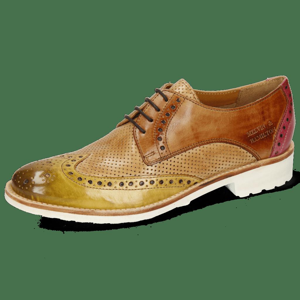 Derby schoenen Amelie 3 Cedro Tan Fuxia Perfo New Sand