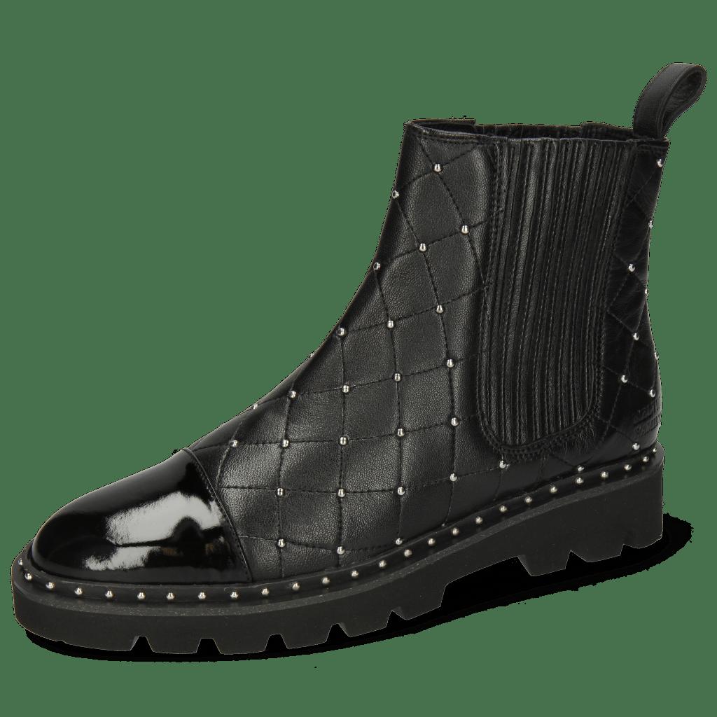 Enkellaarzen Susan 46 Patent French Nappa Black Rivets
