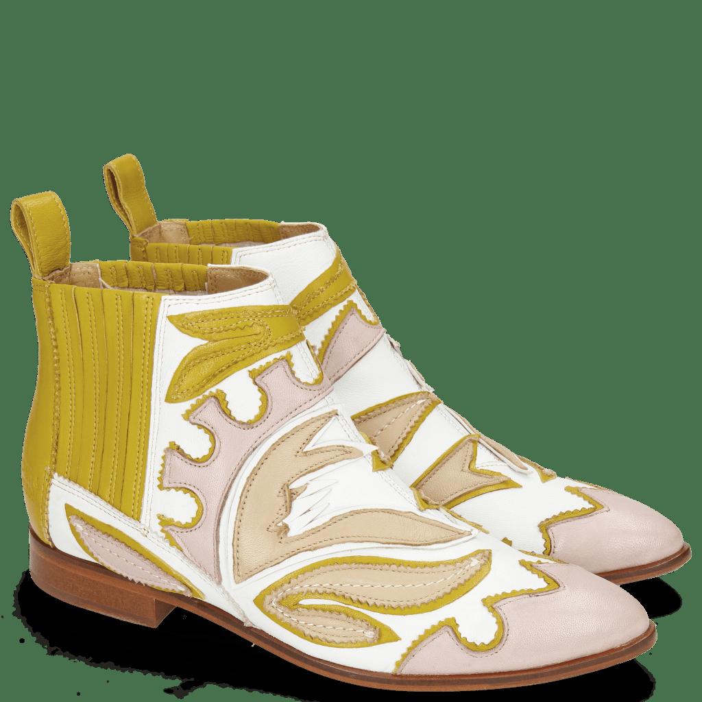 Enkellaarzen Jessy 42 Nappa White Rose Beige Yellow