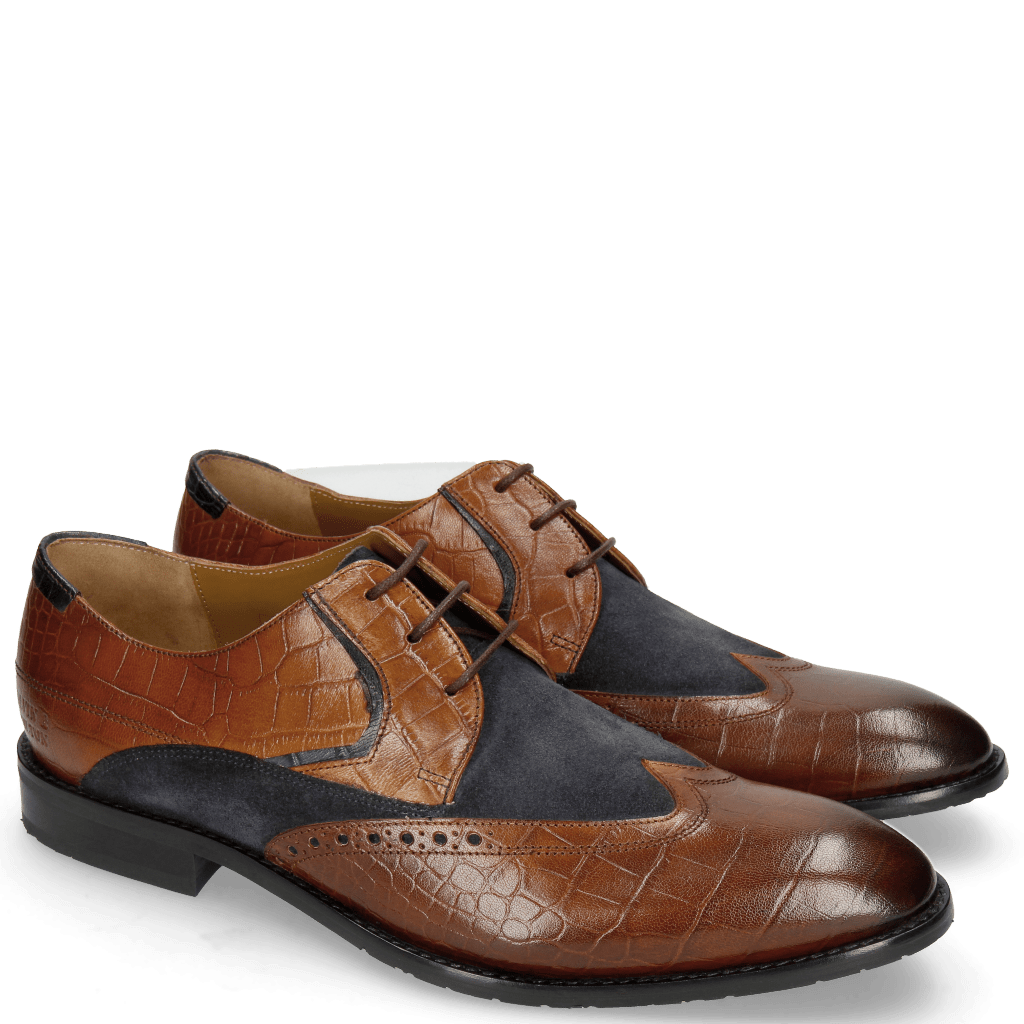 Derby schoenen Victor 9 Venice Croco Mid Brown Suede Textile
