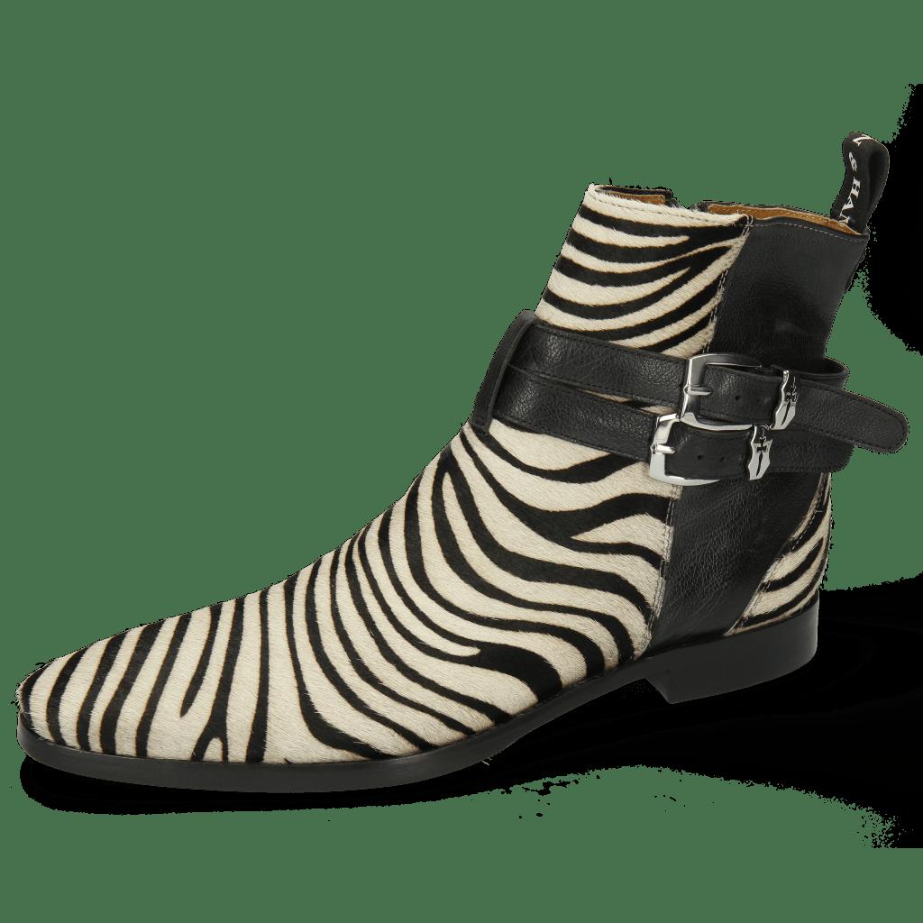 Enkellaarzen Elvis 45  Hairon Zebra Black White