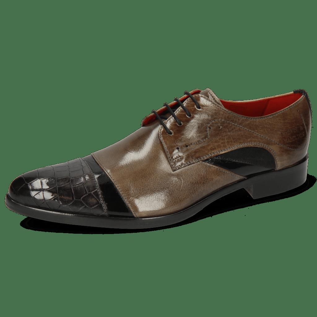 Derby schoenen Toni 39 Crock London Fog Soft Patent Black Smoke Suede Pattini Black