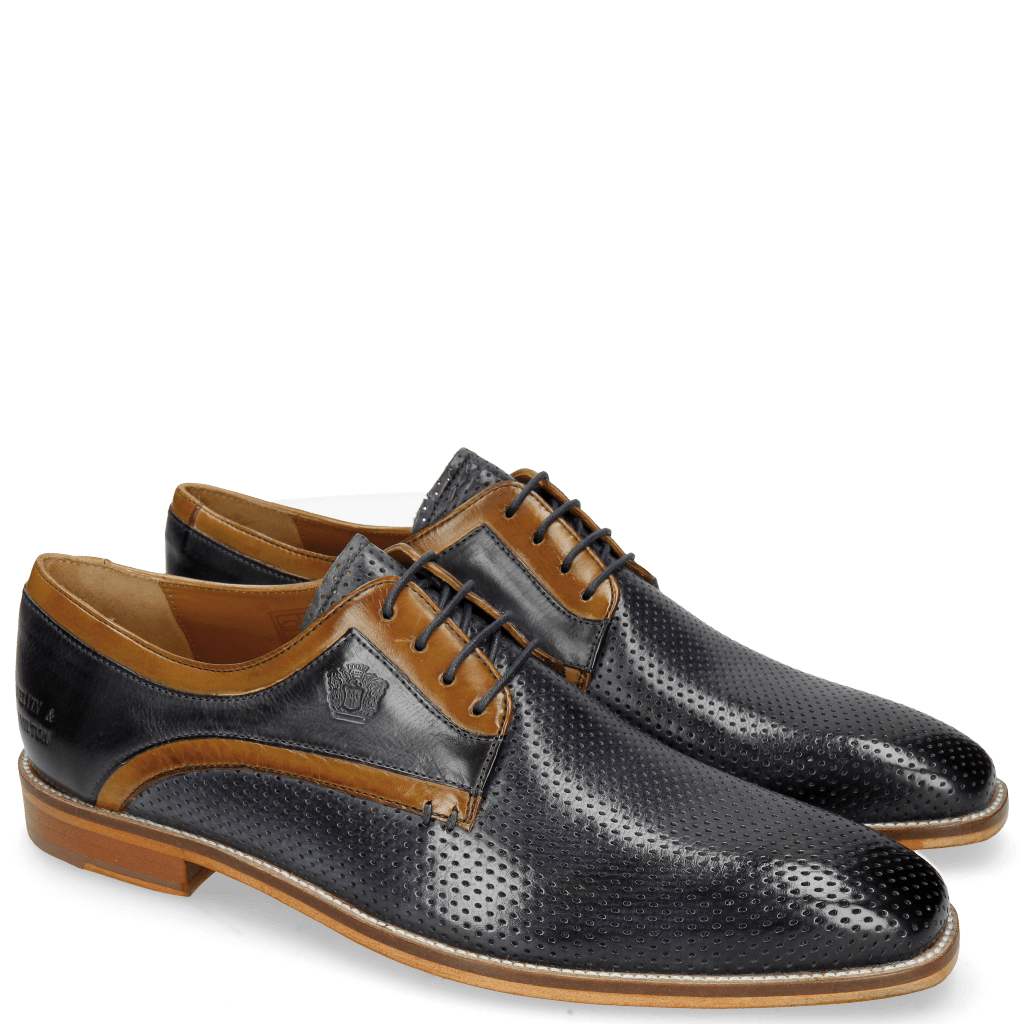 Derby schoenen Alex 10 Berlin Perfo Navy Berlin Tan