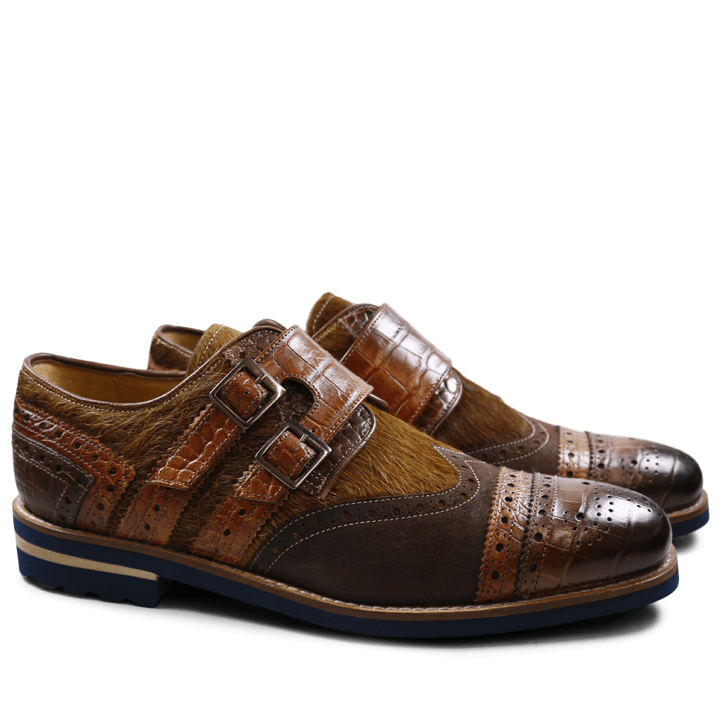 Monks Phil 12 Big Croco Kudu Wax Hair On Chocolate Wood Dark Brown Tan Aspen Navy