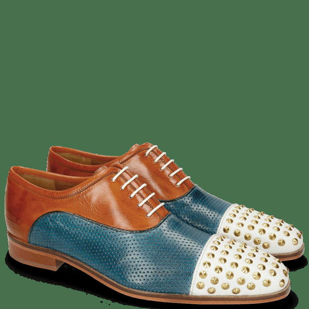 Oxford schoenen Lance 23 Venice White Perfo Mid Blue Tibet Sol Rivets