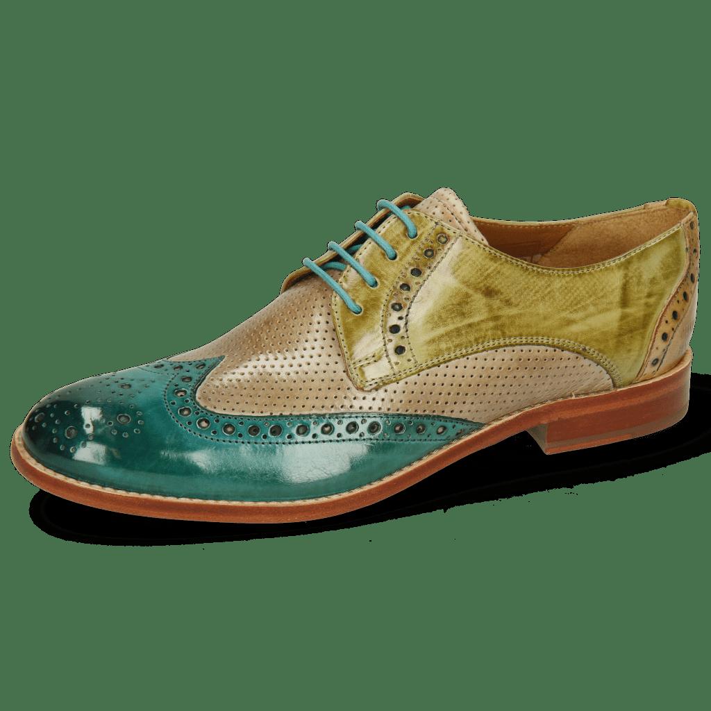 Derby schoenen Amelie 3 Onda Perfo Light Grey Mid Green Sol