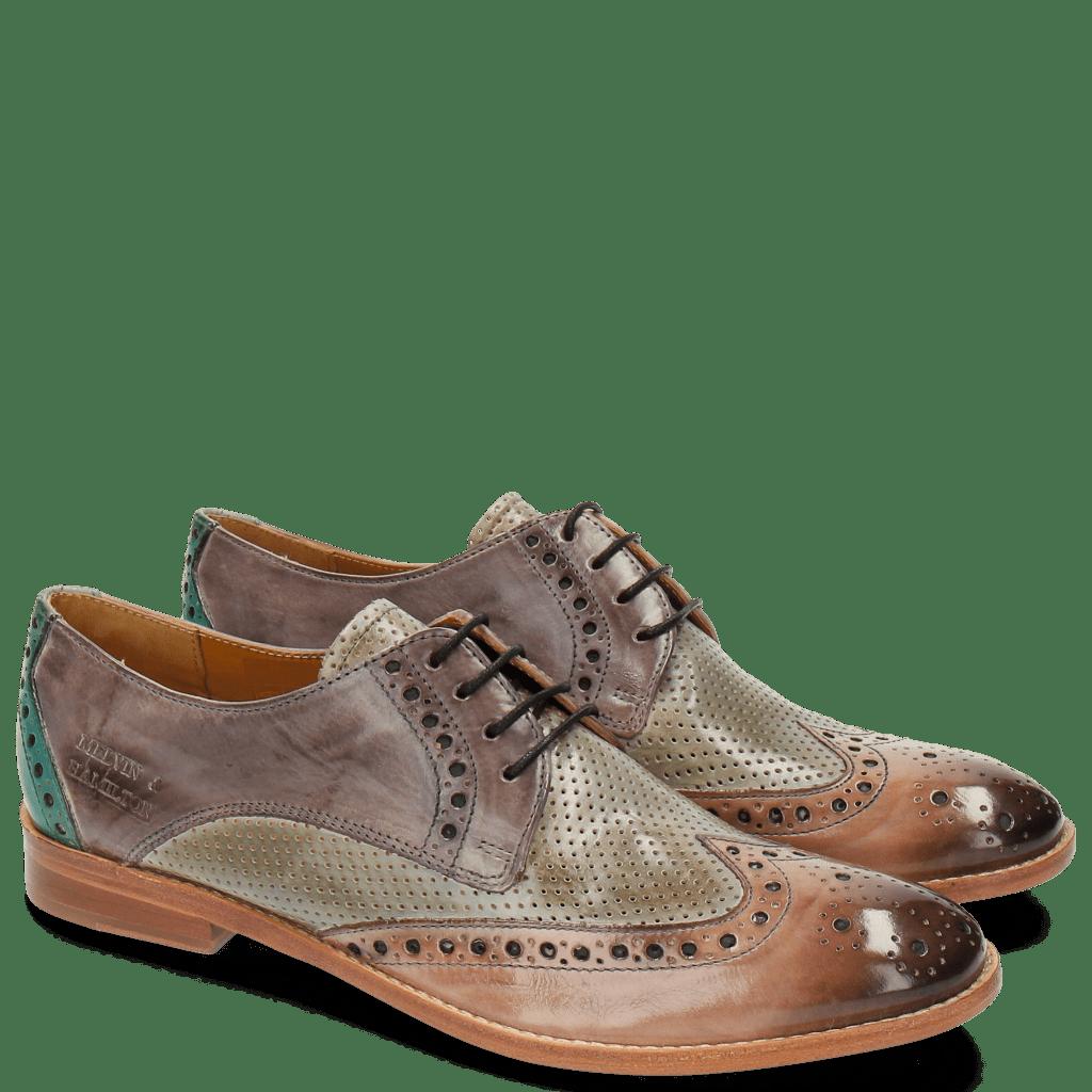 Derby schoenen Amelie 3 Perfo Pale Rose Morning Grey Pale Lila Sweet Water