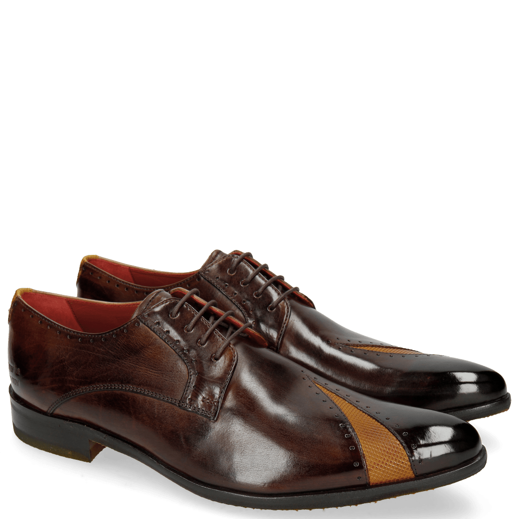 Derby schoenen Toni 8 Mid Brown Dice Yellow